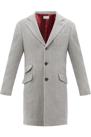 Brunello Cucinelli Men Coats - Single-breasted Wool And Cashmere Herringbone Coat - Mens - Grey