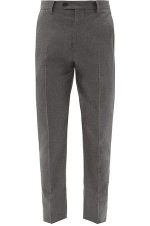 Brunello Cucinelli Slim-leg Pressed Virgin Wool Trousers - Mens - Dark Grey