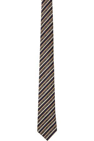 VERSACE Men Neckties - Black & Beige Logo Regimental Tie