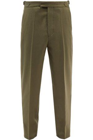 Officine Générale Howard Wool-blend Twill Tapered-leg Trousers - Mens - Khaki