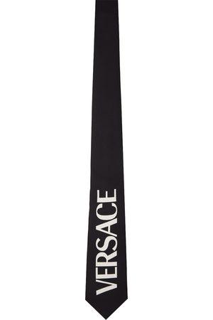 VERSACE Men Neckties - Black Silk Logo Tie