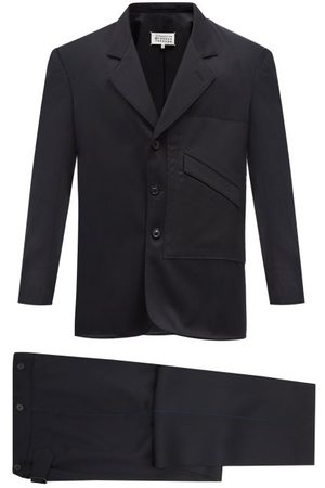 Maison Margiela Raw-edged Patch Wool-twill Suit - Mens - Navy