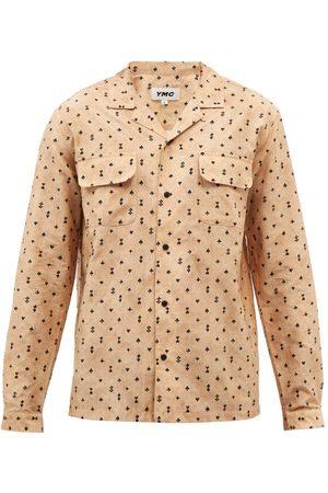 YMC Cuban-collar Suit-print Cotton-blend Shirt - Mens