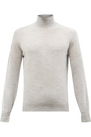 Brunello Cucinelli Men Turtlenecks - Wool-blend Roll-neck Sweater - Mens - Light Grey