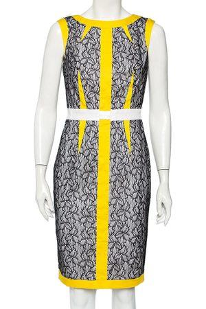 Roberto Cavalli Cavalli Class Yellow & Lace Mixed Media Sleeveless Sheath Dress M