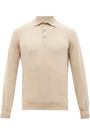 Brunello Cucinelli Men Polo Shirts - Virgin Wool-blend Long-sleeved Polo Shirt - Mens
