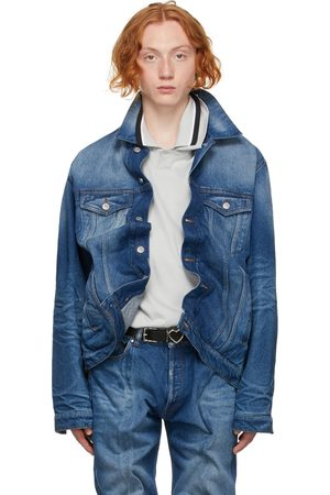 Y / PROJECT Men Denim Jackets - Blue Denim Wire Jacket