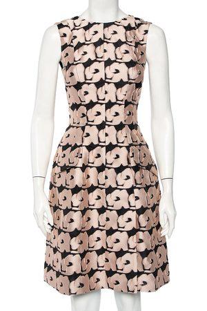 Dior Christian & Black Jacquard Sleeveless Midi Dress S