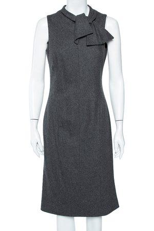 Armani Grey Wool Bow Detail Sleeveless Sheath Dress M