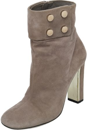 Gucci Grey Suede Vernice Block Heel Ankle Booties Size 36.5