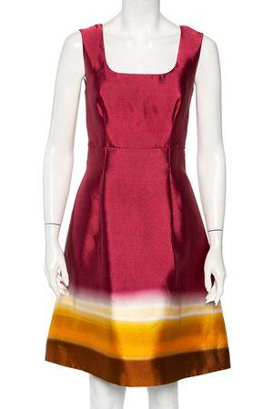 Prada Burgundy Ombre Printed Silk Sleeveless Midi Dress M