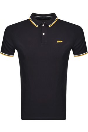 Superdry Short Sleeved Pique Polo T Shirt Navy