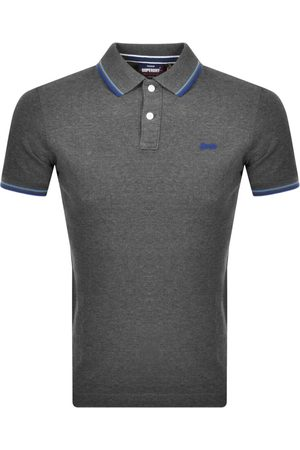 Superdry Short Sleeved Pique Polo T Shirt Grey