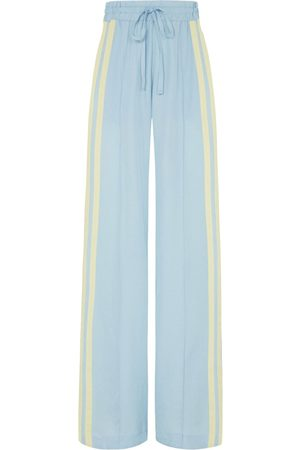 SERENA BUTE The Classic Wide Leg Jogger - Light Blue & Pastel Yellow Natural Fabric