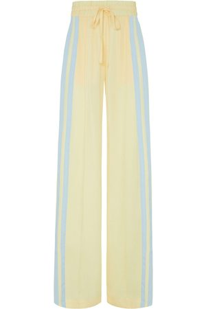 SERENA BUTE The Classic Wide Leg Jogger - Pastel Yellow & Light Blue Natural Fabric