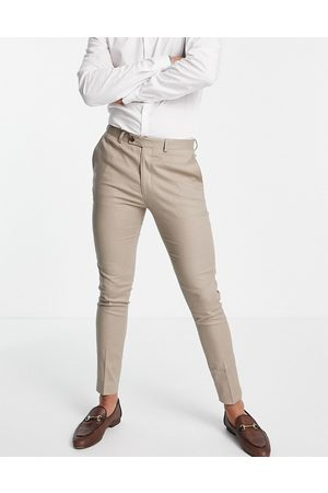 ASOS Super skinny suit pants in taupe cotton linen-Neutral