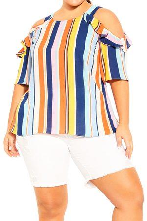 City Chic Plus Size Women's Summer Stripe Cold Shoulder Top