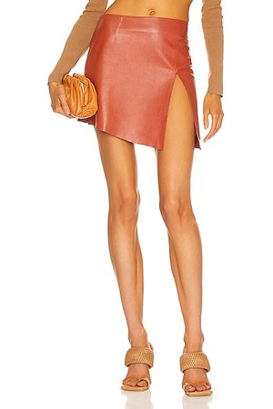 Zeynep Arcay Deep Slit Mini Leather Skirt in Peach
