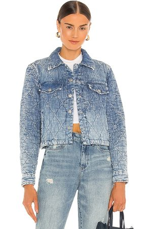 BLANK NYC Women Denim Jackets - Quilted Cropped Jacket in Blue.