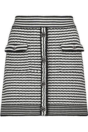Self-Portrait Embellished striped cotton-blend miniskirt