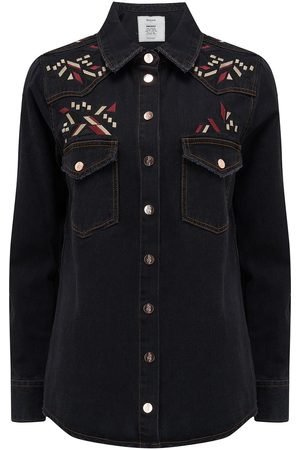 Berenice Cuba Embroidered Denim Jacket - Anthracite