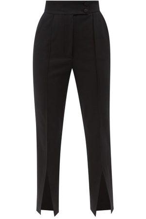 Dolce & Gabbana Hem Slit Cotton-blend Slim-leg Trousers - Womens