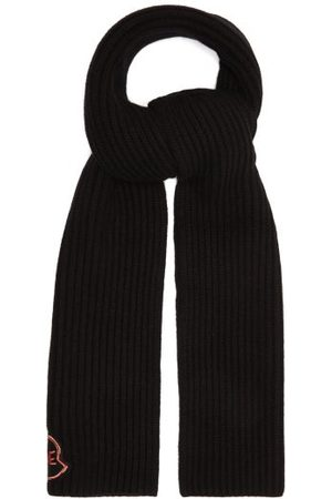 Moncler Logo-embroidered Ribbed Wool-blend Scarf - Womens