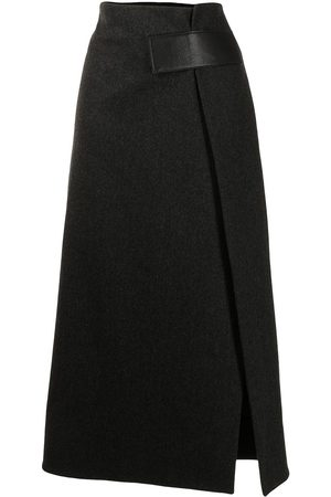 Proenza Schouler Women Midi Skirts - Melange wool midi wrap skirt - Grey