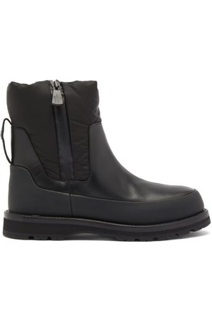 Moncler Leather And Nylon Rain Boots - Womens