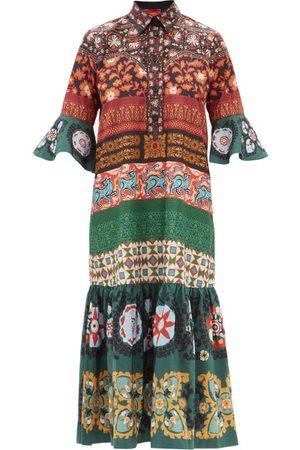 La DoubleJ Artemis Patchwork-print Poplin Midi Dress - Womens - Multi