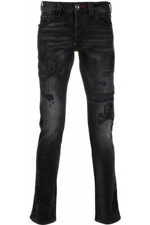 Philipp Plein Men Straight - Distressed straight-cut jeans - Grey