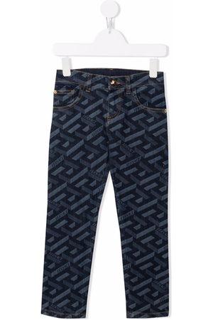 VERSACE Boys Skinny - Logo print skinny jeans
