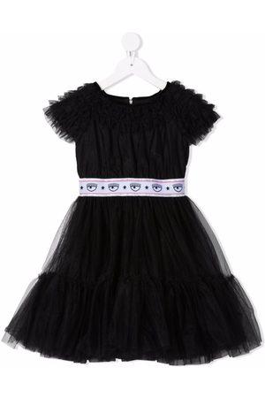 Chiara Ferragni Kids Girls Printed Dresses - Logo-print tulle dress