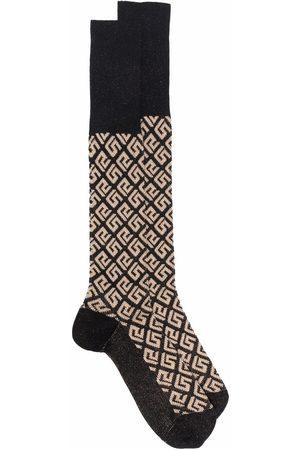 VERSACE Greca-motif monogram-knit socks