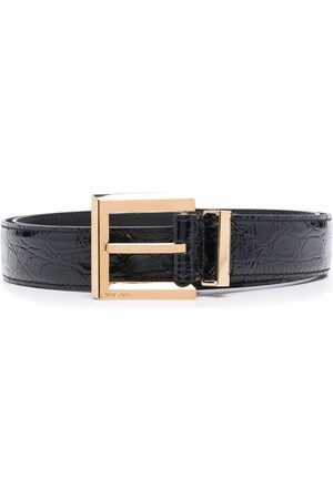 VERSACE Crocodile-embossed square-buckle belt