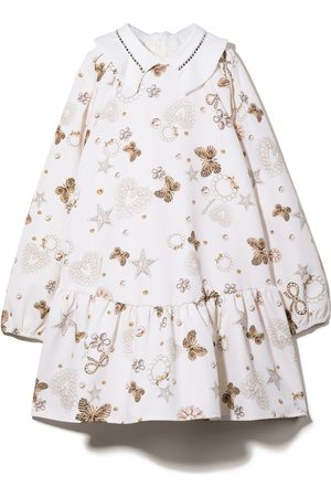 Monnalisa Graphic-print long-sleeve dress - Neutrals