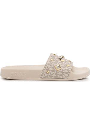 Michael Kors Women Sandals - Gilmore studded logo slide - Neutrals