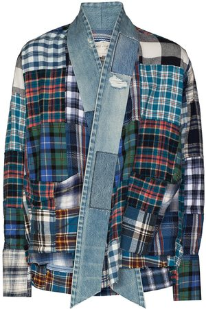GREG LAUREN Men Cardigans - GL1 Strapwork denim-trim cardigan
