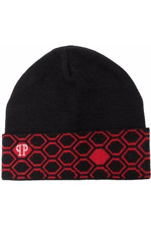 Philipp Plein Beanies - Hexagon-pattern logo knit beanie