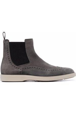 Santoni Men Chelsea Boots - Calf suede-blend Chelsea boots - Grey