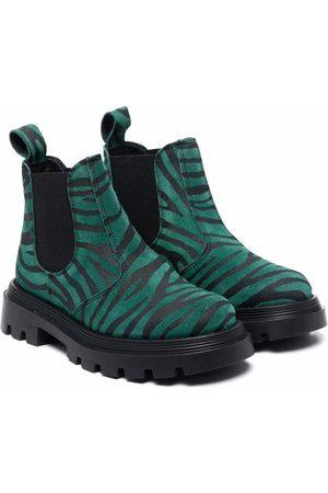 GALLUCCI Girls Snow Boots - Zebra-print suede boots