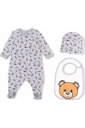 Moschino Bodysuits & All-In-Ones - Teddy-logo print babygrow set - Grey