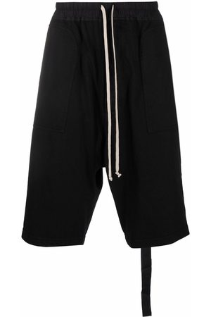 Rick Owens DRKSHDW Dropped-crotch cotton track shorts