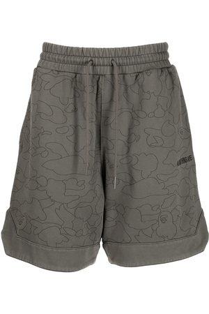 A BATHING APE® Men Sports Shorts - Camo Washed cotton track shorts