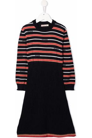 Marni Girls Knitted Dresses - Striped logo-knit dress