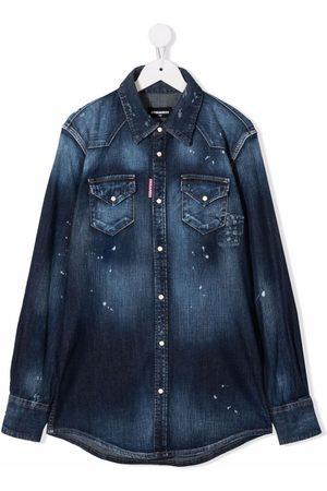 Dsquared2 TEEN distressed-effect denim shirt