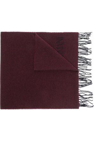Emporio Armani Intarsia-knit logo wool scarf