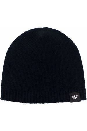 Emporio Armani Logo-patch knitted cashmere beanie