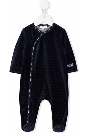 BOSS Kidswear Pajamas - Striped velvet-effect pyjama