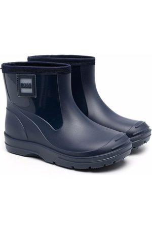 BOSS Kidswear Logo-patch ankle-length boots